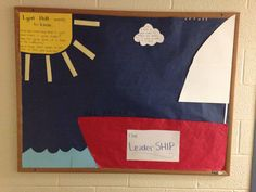 LeaderSHIP bulletin board. Cute idea for resident assistants trying to promote good thinking and conversations about leadership! The RA slides little fish and other nautical shaped cutouts under each door with instructions to write something about what leadership means to them then pin it on the board. This is the picture before the things are posted