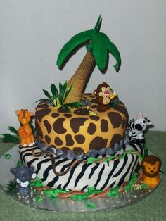 Animal print baby cake.