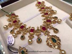 22k Gold Necklace Designs, 22K Gold Ruby Emerald Necklace Designs