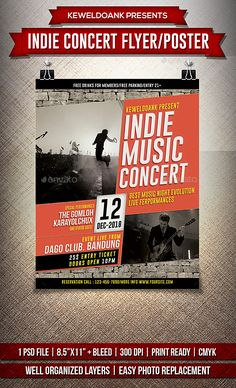 Indie Concert Flyer / Poster by keweldoank Indie Concert flyer templates or poster template designed to promote any kind of music event, concert, festival, party or weekly e