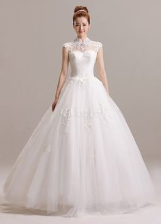 Princess Ivory A-line Floor-Length Stand Collar Sequin Tulle Bridal Wedding Gown - Milanoo.com