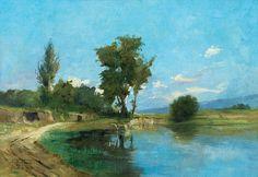 ANTÔNIO PARREIRAS - Paisagem com lago - Óleo sobre tela - 46 x 65,5 - 1912
