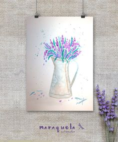 Art Print Vase of Lavender Watercolor - Lavender Collection- Art decor, handmade, watercolor, painting, lavande. Lavanda hecha a mano