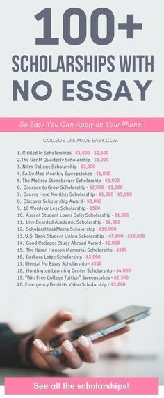 100+ no essay scholarships to help you pay for college. The ultimate list of really real, easy scholarships for high school through graduate students. High School Scholarships, Easy Scholarships, Scholarships For Nursing Students, Graduate Scholarships, College Problems, Life Hacks For School, School Study Tips, College Study Tips, High School Tips