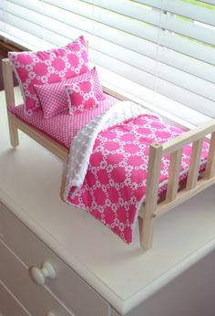 Your place to buy and sell all things handmade Doll Bedding, Bedding Sets, American Girl Doll Bed, Doll Beds, Make Ready, Kids Playing, Fabric Design, Pink White, Toddler Bed