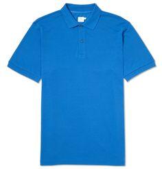 Men's Short Sleeve Pique Polo Shirt, Cornflower Blue | Sunspel