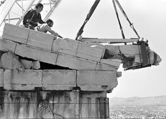 Socratis Mavrommatis (Greek, born 1949), Parthenon. Beginning of the restoration works. Dismantling of the northeast sima, 1986, archival pigment print on paper. Image, courtesy of the Acropolis Restoration Service.