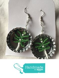 Shiny Silver Bottlecap with White Black and Jade Seed Bead Dragonfly Earrings from Southern Women Crafts https://www.amazon.com/dp/B06WGT93B4/ref=hnd_sw_r_pi_dp_tkrQybRZM0WXX #handmadeatamazon