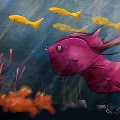a fish for my son Scotty .  .  .  #fish #fishtanks #sharktattoo #kidlitart #kidlit #childrensbooks #findingdory #findingnemo #nemo #dory #ocean #oceanside #guppy #schooloffish #childrensillustration #instakids #instafish #fishinglife #fishoftheday #fishofinstagram #illustration_best