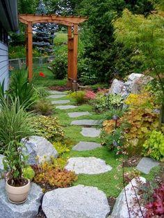 Love this garden pathway with Corsican mint ground cover Garden Entrance, Garden Arches, Garden Arbor, Garden Oasis, Garden Landscaping, Garden Path, Outdoor Retreat, Outdoor Rooms, Outdoor Gardens