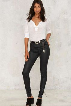 Levi's Mile High Super Skinny Jeans - Coated Onyx | Shop Clothes at Nasty Gal!