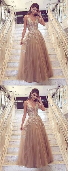 champagne deep v-neck prom party dresses, chic fashion gowns with appliques, elegant evening dresses for formal party. V Neck Prom Dresses, A Line Prom Dresses, Tulle Prom Dress, Beautiful Prom Dresses, Junior Bridesmaid Dresses, Cheap Prom Dresses, Prom Party Dresses, Occasion Dresses, Chiffon Dresses