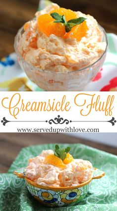 Fluff Creamsicle Fluff recipe from Served Up With Love. The perfect salad to take to any potluck or picnic this summer.Creamsicle Fluff recipe from Served Up With Love. The perfect salad to take to any potluck or picnic this summer. Fluff Desserts, Jello Desserts, Jello Recipes, Dessert Salads, Fruit Salad Recipes, Just Desserts, Dessert Recipes, Easy Recipes, Fruit Snacks