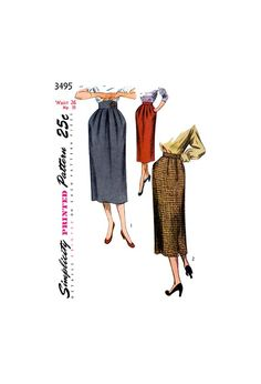Slim Pegtop Skirt with Soft Pleats and Waistband Variations, Waist Hip Simplicity 3495 Vintage Sewing Pattern Reproduction 1950s Fashion, Vintage Sewing Patterns, Slim, Skirts, Color, Design, Skirt