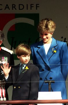 March 1, 1991: Princess Diana and her son, Prince William on his first official engagement on St. David's Day (the patron saint) at Cardiff, Wales.