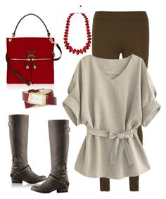 """""""Red and Dark, Dark Green"""" by ahapplet ❤ liked on Polyvore featuring SOREL, MM6 Maison Margiela, Henri Bendel, M&Co, Nine West, red, olive, Leggings, tunic and ahapplet"""