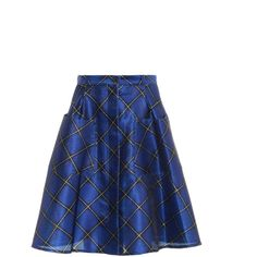 JONATHAN SAUNDERS Charlotte check-print skirt ($1,138) ❤ liked on Polyvore featuring skirts, blue, satin skirts, checked skirt, jonathan saunders, high-waisted skirts and blue high waisted skirt