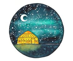 Original Watercolor painting art illustration Yurt by bluepalette