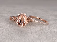 2pcs Morganite Bridal Ring Set,Engagement ring Rose gold,Diamond wedding band,14k,6x8mm Oval Cut,Promise Ring,Open design matching band by popRing on popRing