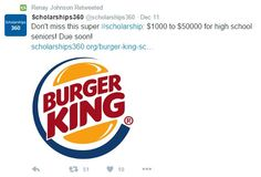 Food marketing in schools even happens on Twitter...check out this one on a Burger King scholarship