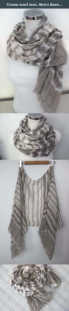 Cream scarf men, Men's linen scarf, beige scarf Men, Ethnicity Male scarf, striped scarf men, linen scarves, Men's Christmas gift. This beautiful scarf is made from 100 % natural fabrics and organic fabrics Turkey. It is suitable for sensitive skin. It certainly does not allergies. Admire the beautiful flowing fabrics. Very harmonious colors and smooth color transitions. Natural wrinkled appearance is very suitable for a bohemian style clothing. With unisex designs and colors that will...
