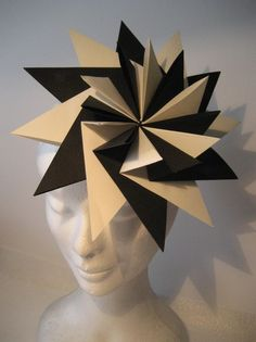 Love this origami style fascinator! Made nu Ruby Martini Millinery Hats, Fascinator Hats, Fascinators, Headpieces, Paper Fashion, Origami Fashion, Fashion Fashion, Origami Dress, Costume Ideas