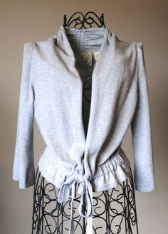 Anthropologie Sparrow Gray Cropped Tie Cardigan Size S #Anthropologie #Cardigan