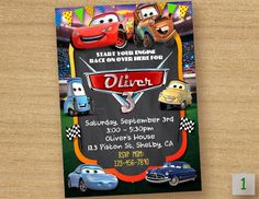 Disney Cars Birthday Invitation ------------------------------------------ Personalized their birthday special with this unique Birthday Party Invitation! This listing is for one digital invitation personalized with your event details. You will receive a printable JPG file via email, no physical items will be shipped. You will be responsible for the printing of your invitations. How it Works (Easy) ▸ Add item(s) to your cart and complete checkout. ▸ After completing payment, please submit...