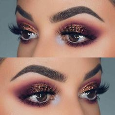 Cranberry and deep purple blended eyeshadow