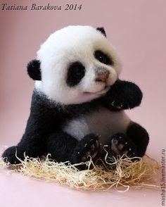 """Купить """"Марико"""" - панда игрушка, войлочная игрушка, игрушка ручной работы, игрушка из шерсти"""