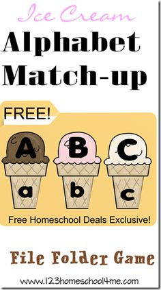 FREE Ice Cream Alphabet File Folder Game to help preschool and kindergarten age children to practice matching upper and lower case letters