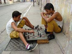 Children Playing Chess on the Street - Santiago de Cuba