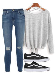 """Studying for tests"" by melw44 ❤ liked on Polyvore featuring Frame Denim and Vans"