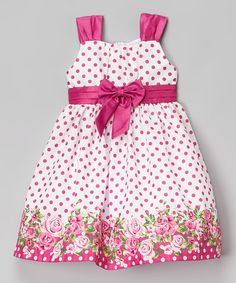 Another great find on #zulily! Berry Polka Dot Shantung Dress - Infant, Toddler & Girls #zulilyfinds