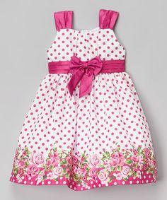Another great find on #zulily! Berry Polka Dot Shantung Dress - Infant, Toddler & Girls #zulilyfinds