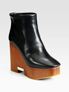 Chloe - Leather Wooden Wedge Ankle Boots