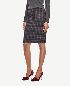 Image of Plaid Pencil Skirt