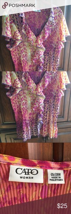 Beautiful Ruffled Top NWOT Comes from pet friendly smoke free home. I am just cleaning my closet & trying to get some cash for kids college fund. I have lots of items still NWT & NWOT along with some in EUC so please take look at my listings. Bundles & offers welcome! Happy poshing! Cato Tops Blouses