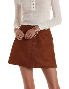 Button-Up Faux Suede Skirt