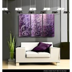 Modern Abstract Painting, Metal Wall Art, Multi Panel Wall Art, Large Artwork, Wall Hanging Office Decor - Confused Passion by Jon Allen Modern Metal Wall Art, Abstract Metal Wall Art, Metal Wall Art Decor, Modern Clock, Painting Metal, Metal Wall Panel, Panel Wall Art, Metal Walls, Purple Rooms