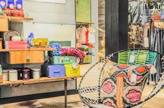 Anthropologie Los Angeles, retail inspiration, textile chair, vintage cupboards
