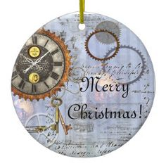 Steampunk Clock Christmas Ornament - click/tap to personalize and buy