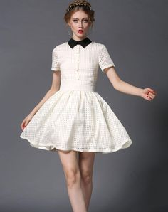 Check the details and price of this Beige Short Sleeve Lapel Plaid Mini Dress (Beige, Irina Miro) and buy it online. VIPme.com offers high-quality Day Dresses at affordable price.