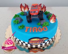 Bolo Blaze Blaze cake Bolo Blaze, Blaze Cakes, Birthdays, Birthday Cake, Desserts, Food, Personalized Cakes, Anniversaries, Tailgate Desserts