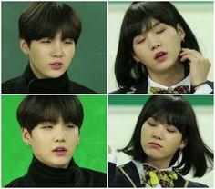 Jimin, Min Yoongi Bts, Min Suga, Bts Aegyo, Bts Memes, Bts Girl, Ugly Faces, Min Yoonji, K Pop