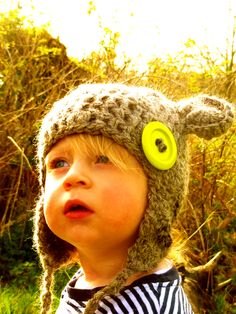 Crochet Bear Hats: 'Paddington'  This gorgeous little hat oozes plenty of charm and character.  Lovingly hand-spun on a traditional spinning-wheel and then beautifully crafted in a crochet stitch. A truly perfect winter woolly for your little cub!