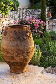 terracota stones,tile and pot