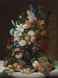 Severin Roesen (circa 1815-1872), Still life with flowers and fruits, 1848