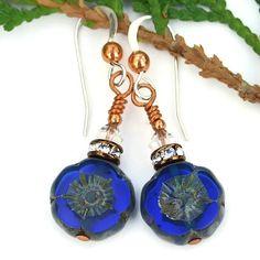 Cobalt Blue Flower Earrings, Swarovski Czech Glass Handmade Pansy Dangle Jewelry @shadowdog #flower #jewelry