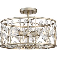 The Meadow Semi-Flush Ceiling Mount from Quoizel features a sleek metal and crystal detailed drum-shaped shade. Paired with a sleek vintage gold-finished metal, this ceiling fixture complements any contemporary living space. Gold Ceiling Light, Ceiling Light Shades, Semi Flush Ceiling Lights, Flush Mount Ceiling, Ceiling Fixtures, Light Fixtures, Drum Chandelier, Gold Glass, Glass Shades